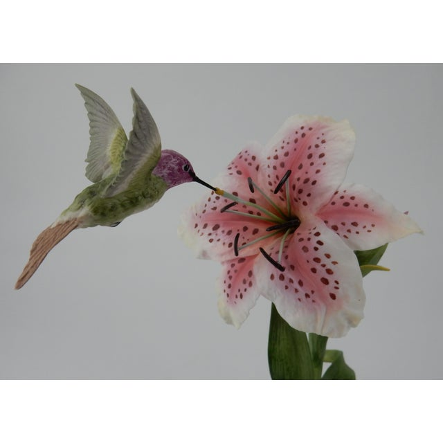 Green Boehm Hummingbird With Rubrum Lily Statue For Sale - Image 8 of 12