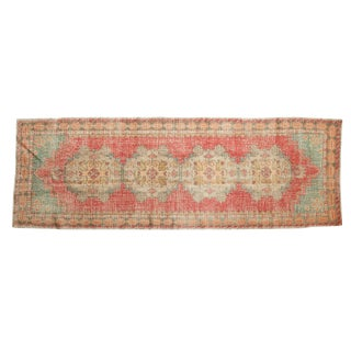 "Vintage Distressed Oushak Rug Runner - 3'1"" X 8'10"" For Sale"