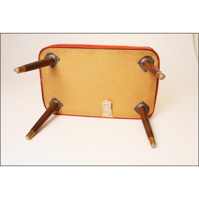 Mid-Century Modern Orange Vinyl Foot Stool - Image 10 of 11