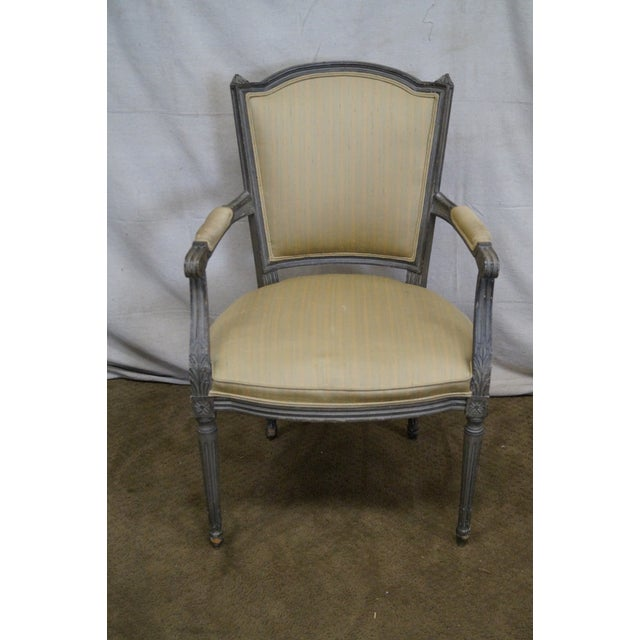 Vintage Painted French Louis XVI Style Dining Chairs - Set of 6 - Image 8 of 10