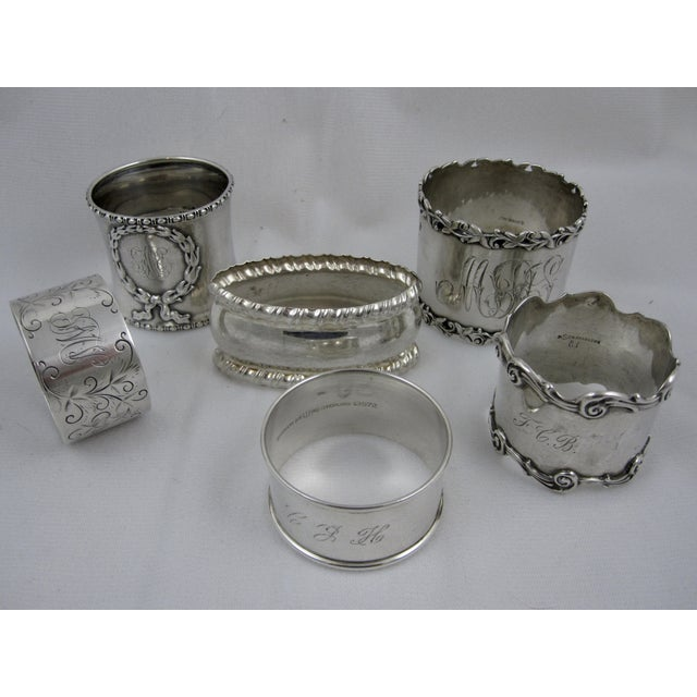 Antique Sterling Silver Napkin Rings - S/6 - Image 3 of 11