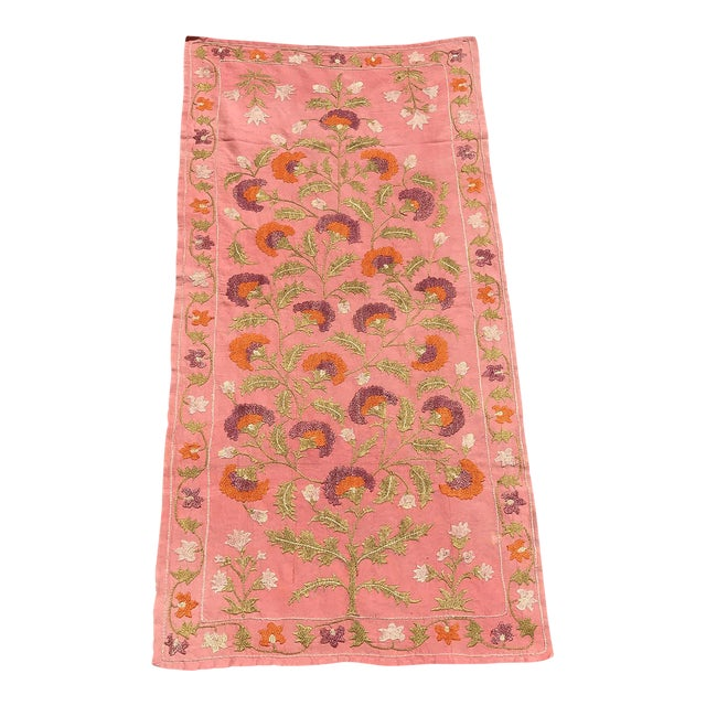 Pink Silk on Cotton Floral Table Runner - Image 1 of 6