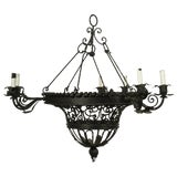 Image of 1950s French Wrought Iron Basket Chandelier For Sale
