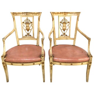 Pair of Neoclassical Style Maison Jansen Armchairs or Fauteuils For Sale