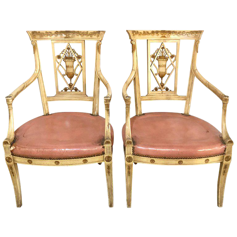 Pair Of Neoclassical Style Maison Jansen Armchairs Or Fauteuils