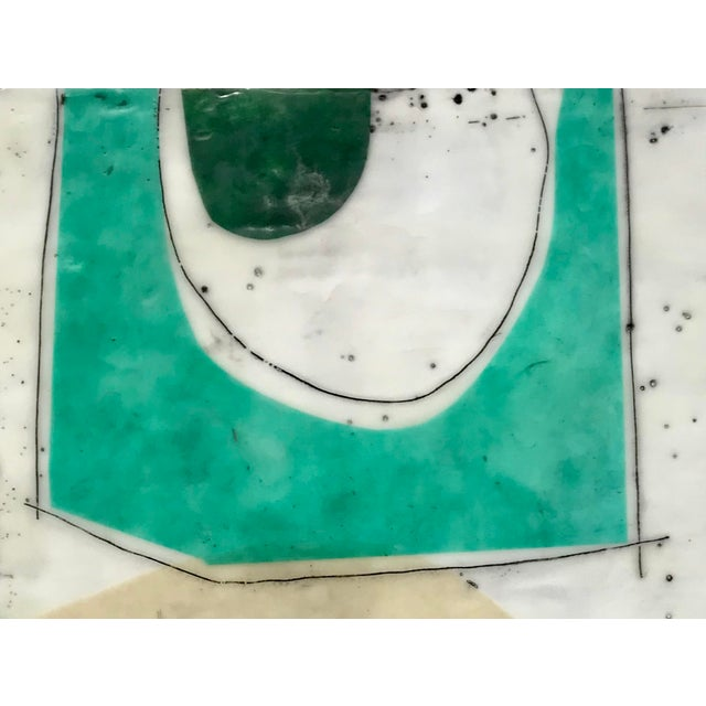 """New - 12""""x12"""" - original encaustic collage painting. Layers and layers of encaustic paint, natural fiber paper, ink, oil..."""