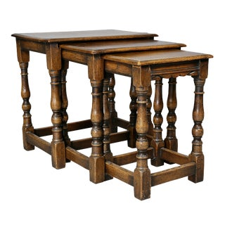 Jacobean Style Oak Nest of Three Tables For Sale