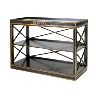 Black & Gold Swedish Empire Style Cocktail Bar or Console Table by Charles Pollack For Sale