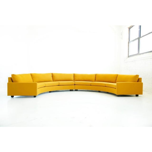 Baughman for Thayer Coggin, Curved Sectional Sofa, reupholsterd with 100% wool Maharam Crepe and down feather pillows....