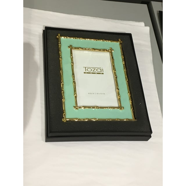 2010s Tozai Home Bamboo & Seafoam Enamel Picture Frame For Sale - Image 5 of 7