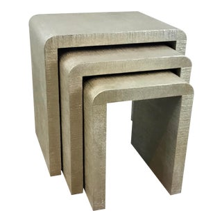 Made Goods Modern Champagne Silk Finished Waterfall Elinor Nesting Tables Set of Three For Sale