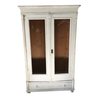 Antique Rustic Painted White Pine Armoire For Sale