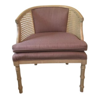 Mid-Century Cane and Faux Bamboo Barrel Back Chair