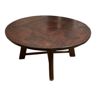 20th Century Rustic Round Dining or Center Hall Table For Sale
