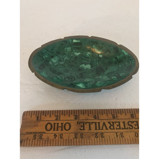 Malachite and Brass Ashtray Catchall For Sale - Image 4 of 10