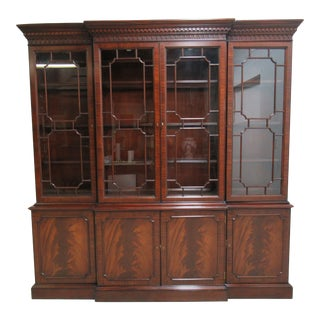 Large Councill Furniture Flame Mahogany China Cabinet Breakfront Hutch Display For Sale