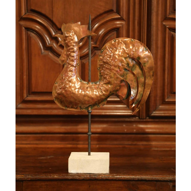 18th Century French Polished Copper Rooster Weathervane on Sandstone Stand For Sale In Dallas - Image 6 of 11