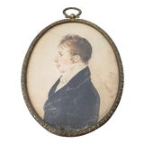 Image of 19th Century Watercolor Portrait Miniature of a Young Man For Sale