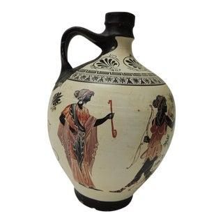 Vintage Encaustic Hand Painted Terracotta Greek Water Jug With Handle For Sale