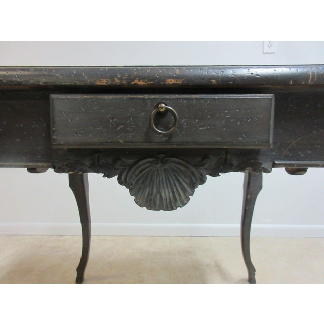 Wood Antique Italian Regency Carved Leather Top Game Table For Sale - Image 7 of 9