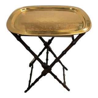 Campaign Faux Bamboo Folding Butler's Stand With Removable Brass Tray For Sale