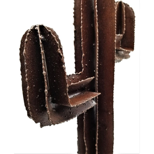 Vintage Brutalist Welded Metal Cactus Table Sculpture For Sale - Image 12 of 13
