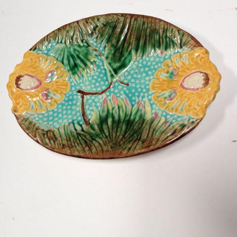1960s Antique Colorful Majolica Platter For Sale - Image 5 of 5