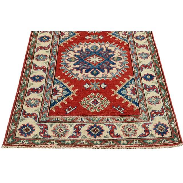 """Kazak Garish Zane Red Ivory Wool Rug - 2'"""" x 9'9"""" For Sale - Image 4 of 8"""