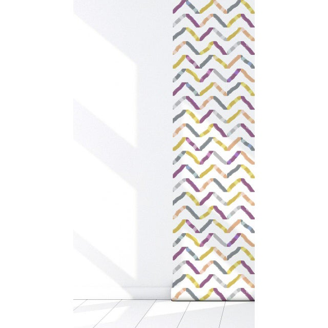 Contemporary Watercolor Repositionable Wallpaper -2'W x 8.5'L For Sale - Image 3 of 5