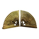 Image of Vintage Brass Fan Bookends - a Pair For Sale
