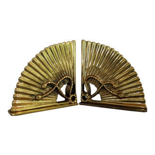 Vintage Brass Fan Bookends - a Pair For Sale
