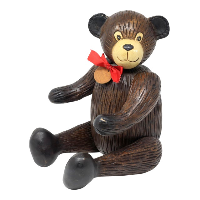 Vintage Hand-Carved Wood Jointed Teddy Bear For Sale