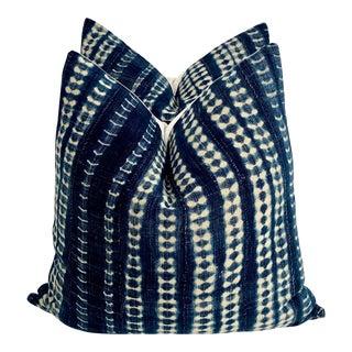 Mali Indigo Mud Cloth Textile Pillows - A Pair For Sale