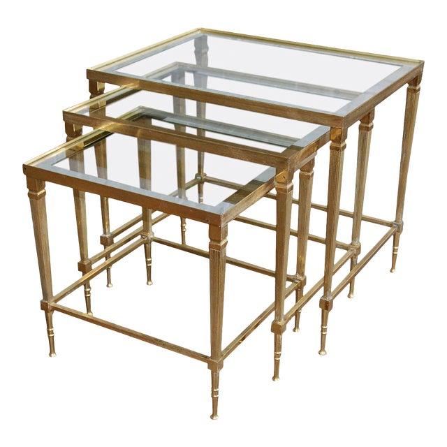 Circa 1950, Italian, Mid-Century Modern, Brass & Mirrored Glass, Nesting Tables - Set Of For Sale