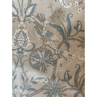 Thibaut Peacock Garden Linen Blend Fabric in Beige and Aqua 4 1/2 Yards For Sale