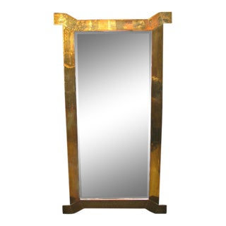 Decorative Mirror in Solid Brass With Dog Leg Corners For Sale