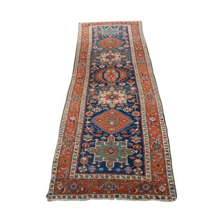 Caucasian Kazak Tribal Design Runner Rug -- 4' x 12'11""