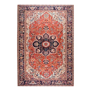 Early 20th Century Antique Serapi Rug - 12′6″ × 18′9″ For Sale