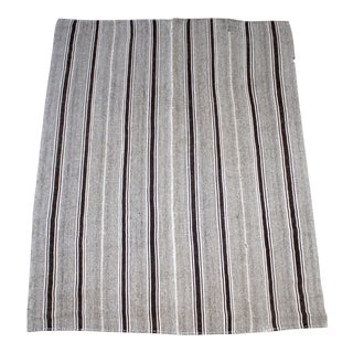 Vintage Turkish Flat-Weave Wool Rug in Brown and Creamy White Stripes For Sale
