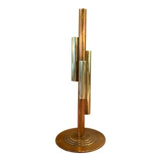 Mid 20th Century Vintage Modernist Brass and Copper Bud Vase For Sale