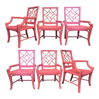 Set of Six Rattan Chinoiserie Faux Bamboo Dining Chairs For Sale