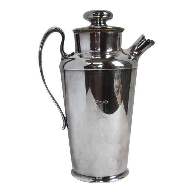 """Art Deco Drink Pitcher with Initial """"D"""" For Sale"""