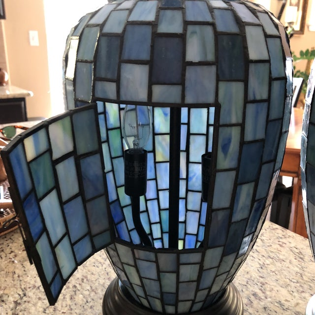 Bronze Arts and Crafts Geometric Blue Stained Glass Lamps - a Pair For Sale - Image 7 of 13