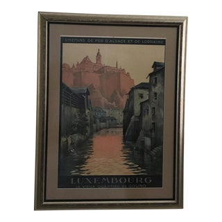 Vintage Luxembourg Oversized Travel Poster For Sale