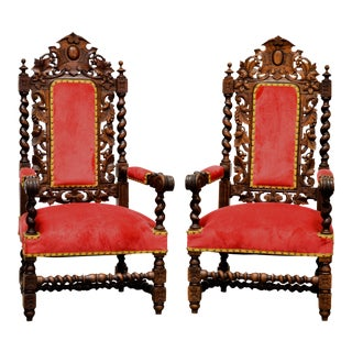 Antique French Carved Oak Hunt Arm Chairs - a Pair For Sale