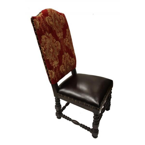 Tall back dining chair with a tall arched top back. Handcrafted solid wood. Easy to clean leather sets. Red Gold Damask...