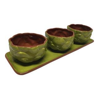Vintage Ceramic Artichoke Bowls on a Plate - Set of 4 For Sale