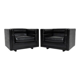 """Black """"Channel"""" Chairs Designed by Roger Sprunger for Dunbar - A Pair For Sale"""