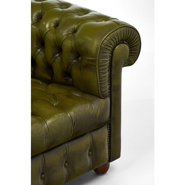 Vintage Chesterfield Green Leather Club Chair For Sale In Austin - Image 6 of 11