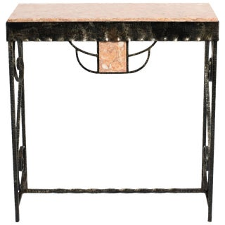 Art Deco Style Iron and Marble Console Table For Sale